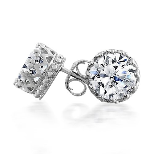 Bling Jewelry Mens Round CZ Crown Stud Earrings 925 Sterling Silver 8mm