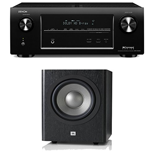 Denon Avr-X3000 In-Command 7.2-Channel 4K Ultra Hd Networking Home Theater Receiver Plus A Jbl Sub 250P 10-Inch Powered Subwoofer