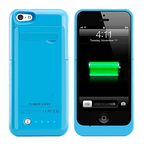 iSHAKO  iPhone 5 / 5S / 5cバッテリーケース スリムバッテリーチャージャーケース充電式ポータブルアウトドア大容量2200mAh、iPhone5/5S/5C(ブルー)