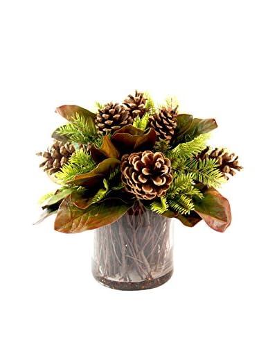 Creative Displays Pinecone & Magnolia Leaf in Pot, Green/Brown