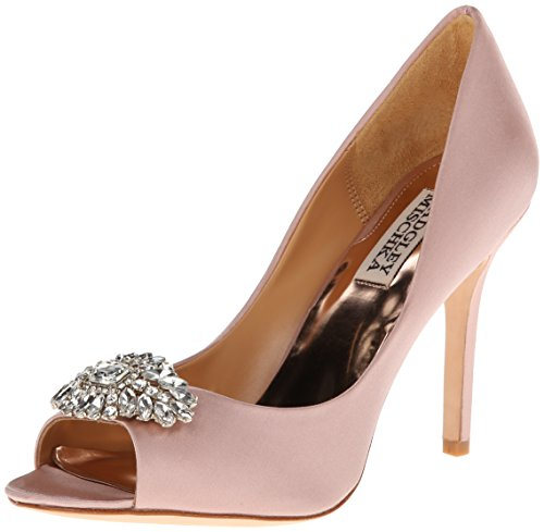 Badgley Mischka Women's Lavender II Dress Pump,Blush Satin,8.5 M US