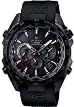 Casio Edifice Chronograph Multi-Function Black Dial Black Rubber Mens Watch EQWM600C-1A