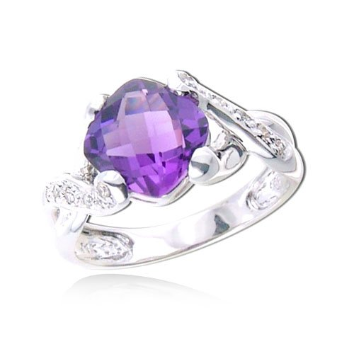 14K WHITE GOLD Cushion Cut Amethyst With White Gold Diamond Ring Diamond quality A (I1 I2 clarity, H I color)