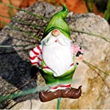 Garden Gnome On A Stick Ornament With Flowers