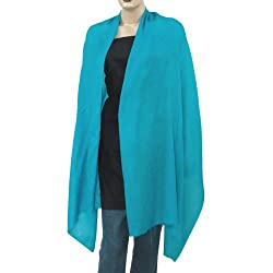 Turquoise Cashmere Pashmina Scarves Wedding Anniversary Gifts From India Size: 80 x 28 Inches