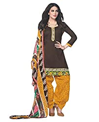 Desi By Design Women's Cotton Unstitched Dress Material (Jasmine-2006_Brown_Free Size)
