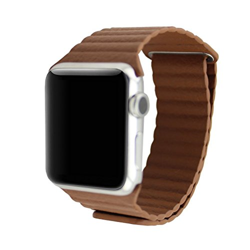 Happy Hours® Genuine PU Leather Loop with Adjustable Magnetic Quilted Closure Buckle Metal Adapter Replacement Wrist Band iWatch Strap Apple Watch Sport Edition 42mm£¬Coffee Brown