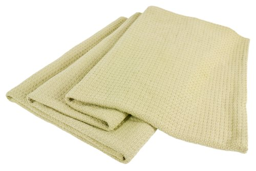 Elite Home Grand Hotel All-Natural 100-Percent Cotton Basket Woven Blanket Full/Queen Size, Sage front-1044398