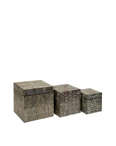 Set of 3 Jacobs Mother-of-Pearl Boxes, Black/Natural