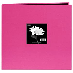 Pioneer 12 Inch by 12 Inch Postbound Fabric Frame Cover Memory Book, Bright Pink