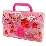 【文房具】ファンシーケースセット Strawberry Fantasy(1個)  / お楽しみグッズ(紙風船)付きセット [オフィス用品]
