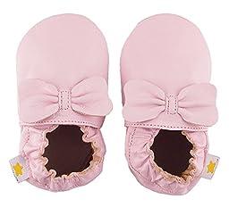 Ministar Girls Baby Infant Toddler Prewalker Leather Soft Sole - Pink Bow - Medium 6-12 mo.