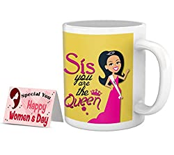 TIED RIBBONS womens day special edition combo for sister treating her as a queen on this day pampering inspiring her mug combo(325ml,Yellow)