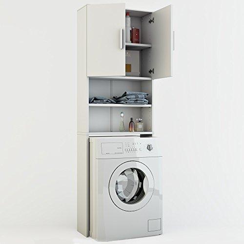 Badregal-Hochschrank-Waschmaschine-Bad-Schrank-Badezimmerschrank-berbau-weiss