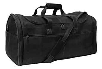 Cape Cod Leather World Traveler Extra Large Leather Duffel Bag (Black)