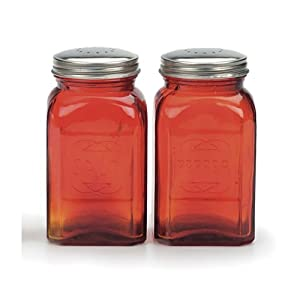 Rsvp Retro Red Glass Salt Pepper Shakers