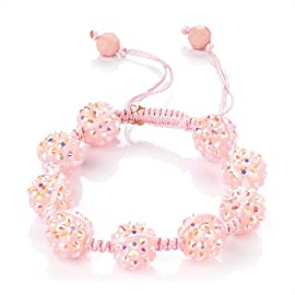 Minerva Collection Disco Ball Bead Shamballa Fashion Bracelet Pink