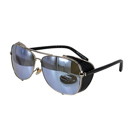 Ucspai-Steampunk-Sunglasses-Goggles-Silver-Frame-with-Reflective-Lens