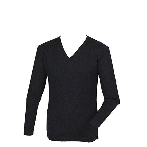 Henbury acrilico, Cashmere Touch-Maglione con collo a V nero X-Large
