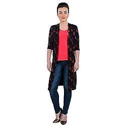 Funk For Hire Women Cotton Lycra knit Katputli printed Long Jacket (Black, Size M)