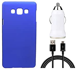 Toppings Hard Case Cover With Car Charger & Data Cable For Samsung Galaxy Z3 - Blue