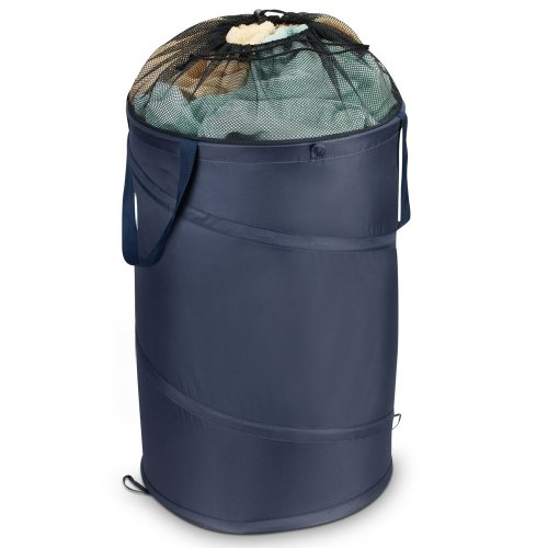 Household Essentials Pop-Up Polyester Hamper with Drawstring Closure, Blue (Household Essentials Bin Blue compare prices)