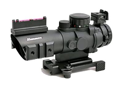 Hammers Compact Prism Rifle Scope 4x32 with BDC Illuminated Multi-line Reticle Optical Fiber Backup Iron Sights Accessory Rails and Quick Detach QD Cam Lever Lock from Hammers