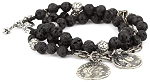 M.Cohen Handmade Designs Lava Stone Bead and Sterling Silver Chain Triple Wrap Bracelet