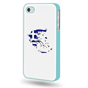 SudysAccessories Greece Flag Map iPhone 4 Case iPhone 4S Case - Aqua Blue SoftShell Full Plastic Direct Printed Graphic Case