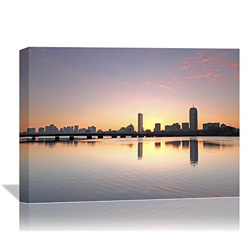 Eden Art (12''x16'') Modern Boston Charles River Morning Bliss Skyline Pictures Prints on Canvas Wall Paintings, Stretched and Wooden Framed Landscape Walls Artwork for Home Decor,Ready to Hang (Boston Skyline Painting compare prices)
