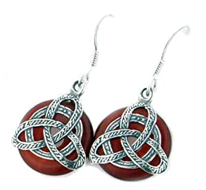 Sterling Silver Celtic Trinity Knot on Red Glass Discs Hook Earrings