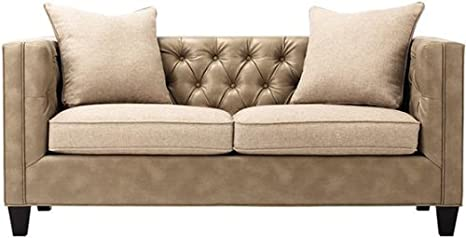 "Lakewood Leather Tufted Sofa, 30""Hx70""Lx31""D, PTTY LSBRN FLAX"