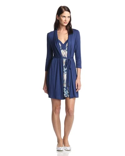Tart Women's Lucy Chemise & Robe Set  [Blue Ikat]