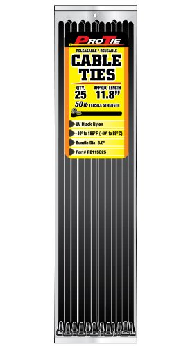 Lowest Price! Pro Tie RB11SD25 11.8-Inch UV Black Nylon Releasable Standard Duty Cable Ties, 25-Pack