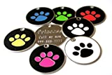 Large Stainless Steel Paw Print Pet ID Tag FREE Custom Engraved 1-3/8