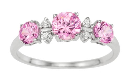 Eternity Ring, 9ct White Gold Pink and White Cubic Zirconia Ring, Claw Set