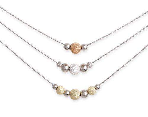 Triple Row With Tri Color Rose, Gold, Rhodium Balls Sterling Silver Necklace (Nice Holiday Gift, Special Black Firday Sale)