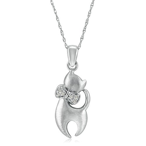 Diamond Cat Pendant crafted in Sterling Silver, 18 Sterling Silver Chain