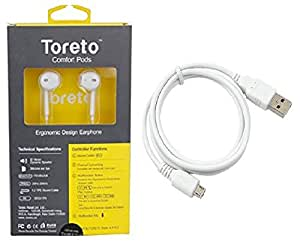 Toreto premium high quality stereo earphones with Data cable (White) for Spice M-6262