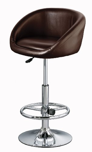 Premier Housewares Adjustable Bar Stool with Leather Effect Seat and Chrome Footrest and Base, 103 x 50 x 46 cm, Brown