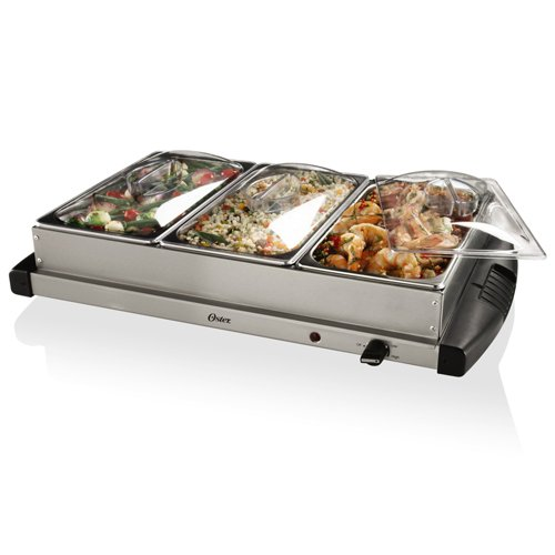 Electric Food Warmers Buffet ~ Compartment electric covered side dish triple buffet