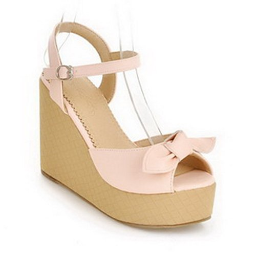 Weipoot Women'S Peep Toe High Heel Wedge Pu Soft Material Solid Sandals, Pink, 5 B(M) Us