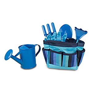 Kids gardening tool set blue baby for Gardening tools on amazon