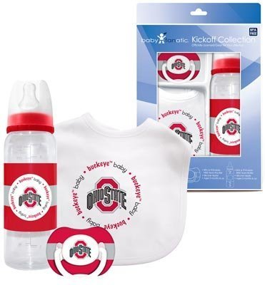 Ohio State Baby Three Piece Gift Set Feeding Bib Bottle Pacifier - 1