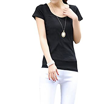 Short Sleeve V-neck Tee Tank Top Shirt Cotton Plus Size