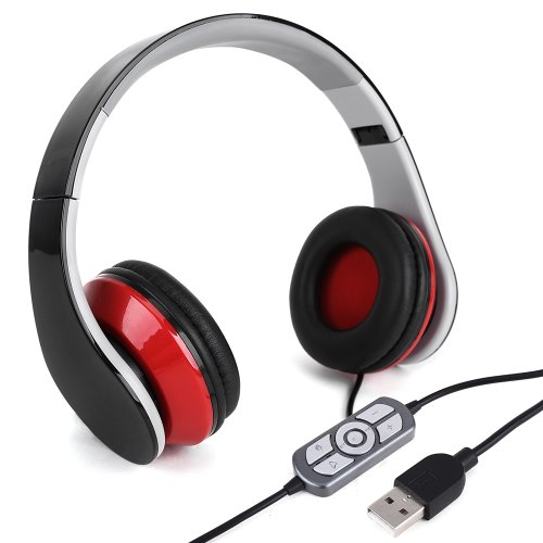 Black&Red Usb Wired Headphone Headset With Microphone Mic For Pc Laptop Notebook Skype,Msn,Yahoo Gaming