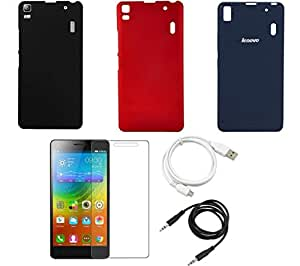 NIROSHA Tempered Glass Screen Guard Cover Case USB Cable for Lenovo K3 Note - Combo