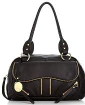 Franco Sarto Ziggy Satchel Black Leather Handbag