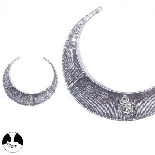 sg paris women necklace choker silver grey fabrics
