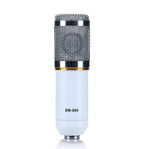 Condenser mic recording microphone just uni directional microphone stand with recordings-broadcasting-videos posted · white singing